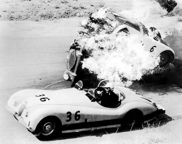 John Edgar MG Special crashes into Jaguar XK-120 for movie