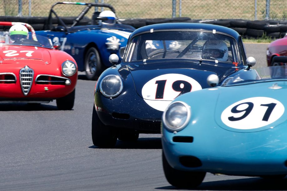 In a tight Group Two is Ted Rodgers in his 1962 Porsche 356.