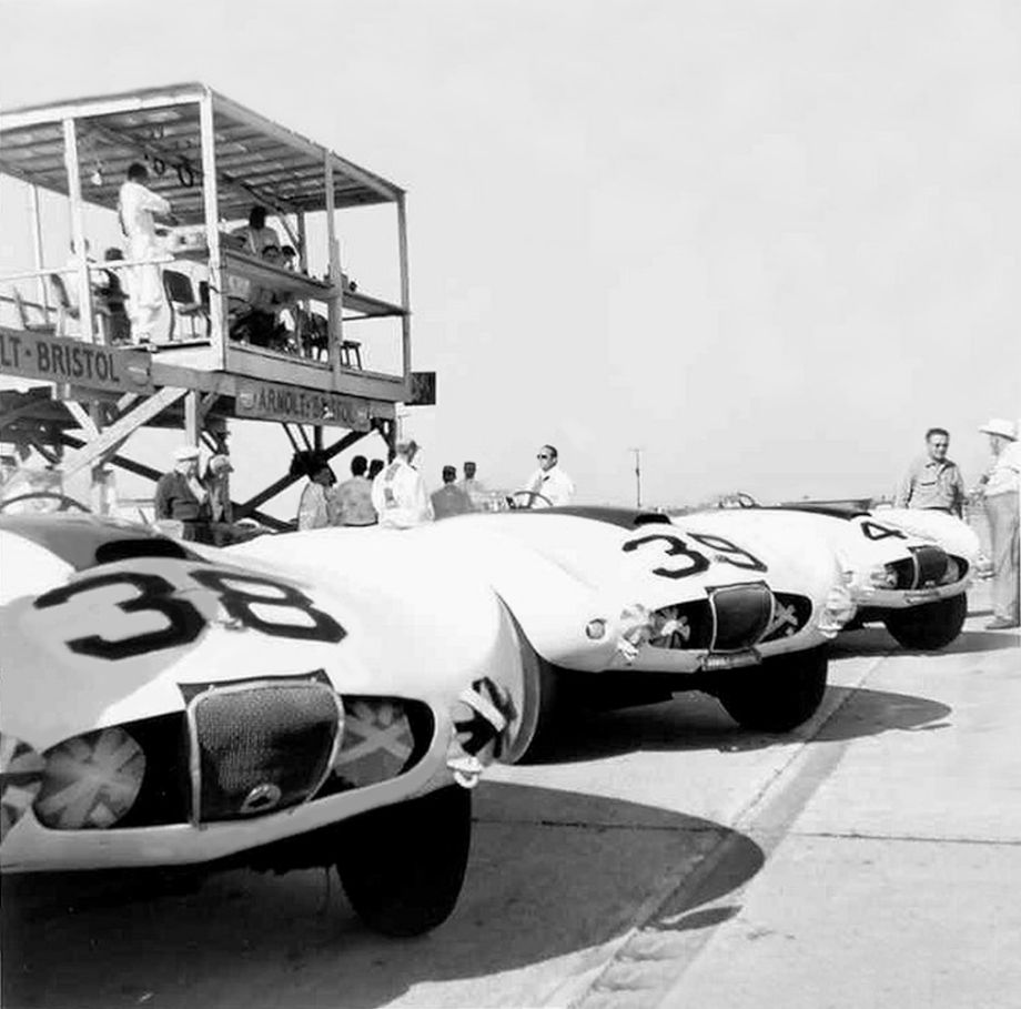 Team Arnolt-Bristol on the grid at Sebring.  Note the homemade pit enclosure and viewing platform.