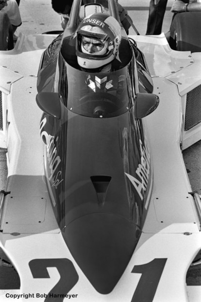 Al Unser sits in his Vel Miletich Parnelli VPJ6B during a practice day in 1977.