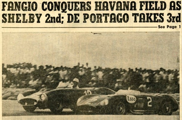 Havana, Cuba, February 1957. Clipping from John Edgar's Scrapbook shows winner Fangio in #2 Maserati, with mention of Shelby's second- and Portago's third-place finishes.