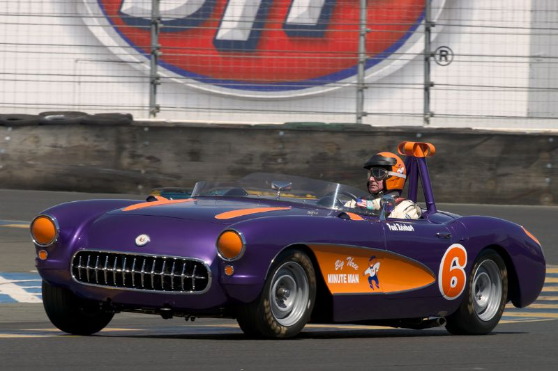 1957 Corvette driven by Paul Reinhart in eleven.