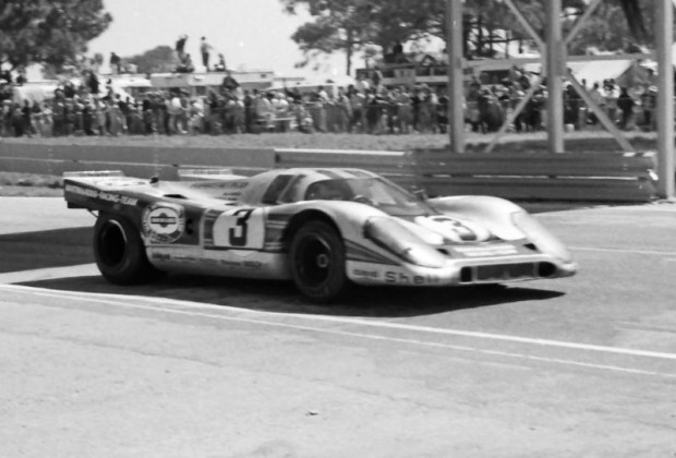 The winning Martini & Rossi Porsche 917K of Vic Elford and Gerard Larrousse in the 1971 12 Hours of Sebring.