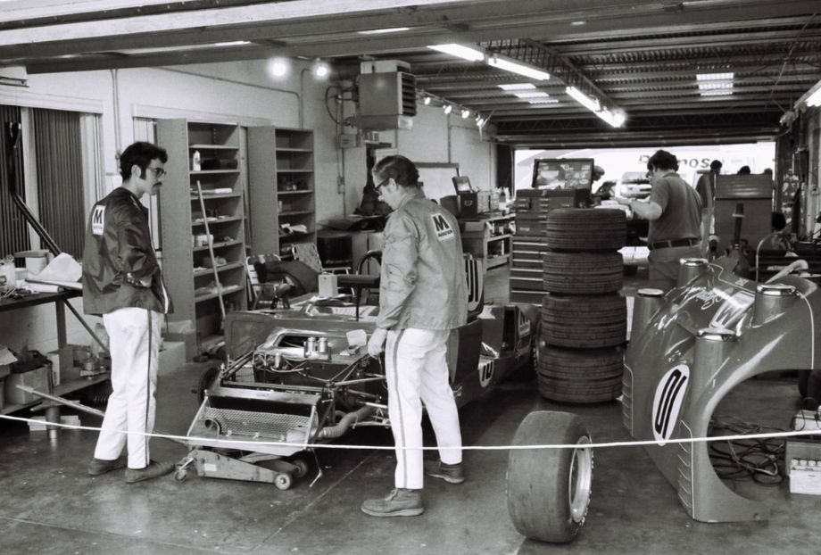 The Shierson Racing garage at Daytona in 1973.  Having an enclosed garage was a real plus during the two days of cold rain prior to the start of the race.  Louis Galanos photo.