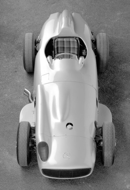 The open wheel Mercedes-Benz W196 before the start of the 1955 season.