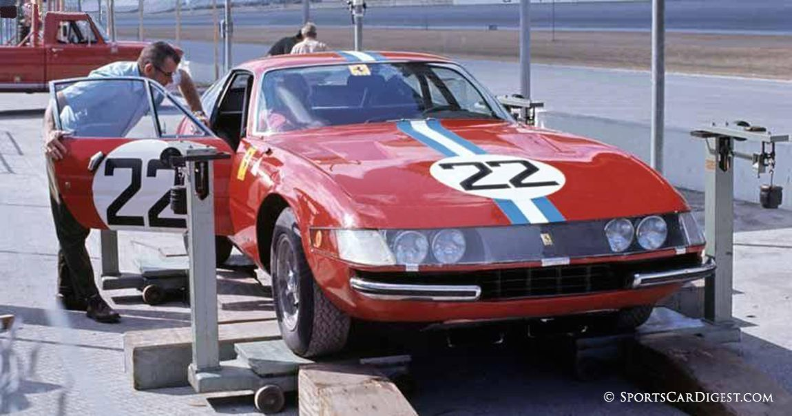 NART Ferrari 365 GTB/4 that was piloted by Ronnie Bucknum and Wilbur Picket going through tech inspection. (Fred Lewis photo)