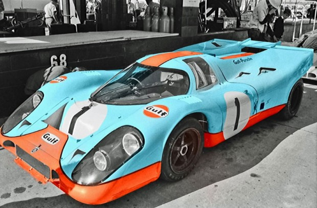 The #1 Gulf/Wyer Porsche of Jo Siffert and Derek Bell in the pits prior to the 1971 12 Hours of Sebring.  The car finished fifth and 16 laps behind the winning Martini & Rossi 917 of Vic Elford and Gerard Larrousse.  This is a colorized version I made of my original photo.