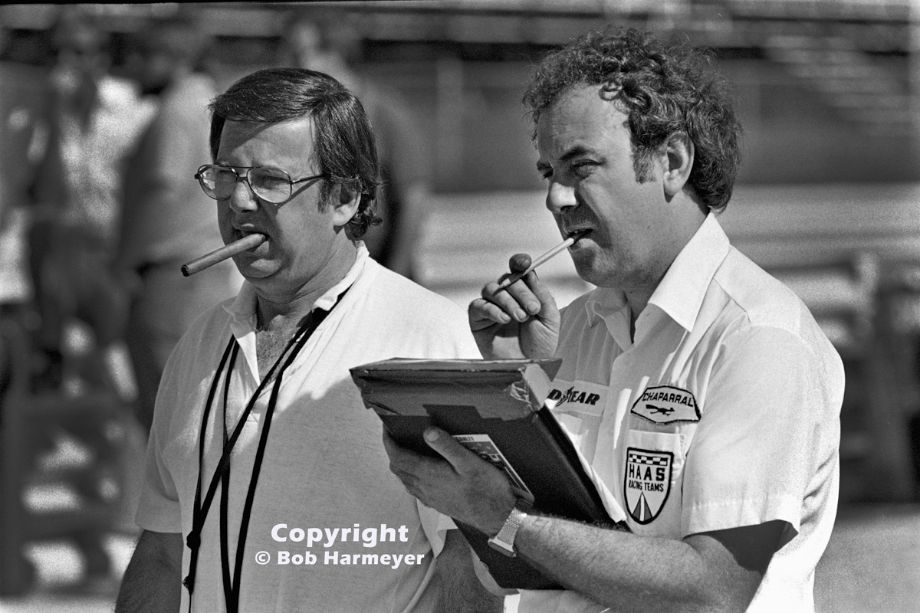 Team owner Carl Haas (left) and team manager/crew cheif Tony Dowe, monitoring practice laps during a Can-Am event at Watkins Glen.