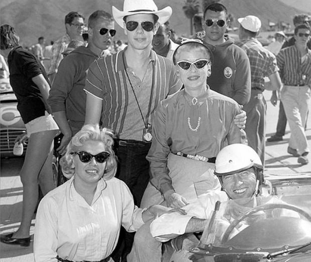 Palm Springs, April 1957.  Clockwise from top: William Edgar (w/stopwatch), his mother Geraldine Edgar, Carroll Shelby in Edgar Maserati, and William's first wife Patricia Edgar.