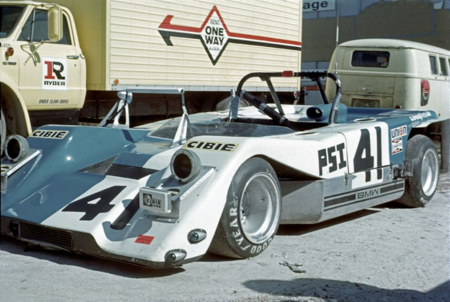 The BMW powered Lotus 23 that was driven by Raymond Gage, Jim Grob and Gary Ouellette.  The car had a four cylinder 2-liter engine and was a DNF.  Louis Galanos photo.
