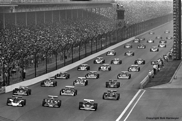 """Following the front row of Tom Sneva, Bobby Unser and Al Unser, the field falls into formation for the final pace lap before the start of the """"500."""""""