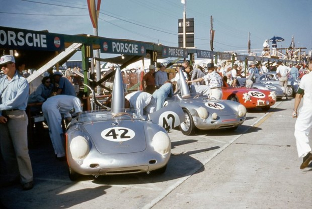 Porsche pits at Sebring featuring a group of Porsche 550 RS.