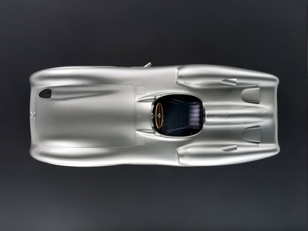 An overhead shot of one of the Mercedes-Benz Museum cars.