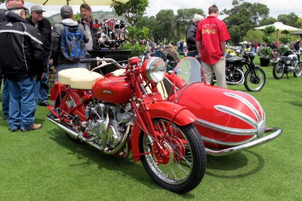 If you go for red paint and cream upholstery, like my wife and I do, here's the one!  Further enticement is the Vincent Touring Rapide and Blacknell sidecar, brought to you by the perfection of Herb Harris' Harris Vincent Gallery in Austin TX.