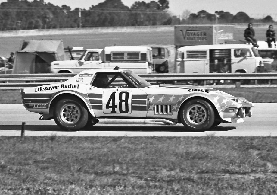 """The John Greenwood Corvette going through turn three at Daytona.  The turn was also known back then as the International Horseshoe.  Greenwood put up his own money in 1973 to save the Sebring race from oblivion and he was nicknamed the """"Sebring Angel.""""  Louis Galanos photo."""
