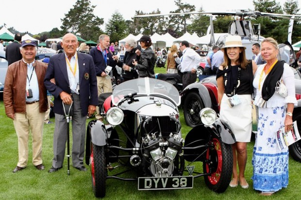 Left to right: Sir Michael Kadoorie, Sir Stirling Moss, Lady Kadoorie, Lady Moss, with the 1937 Morgan Sports.  Photo Courtesy of Taha Mukaddam