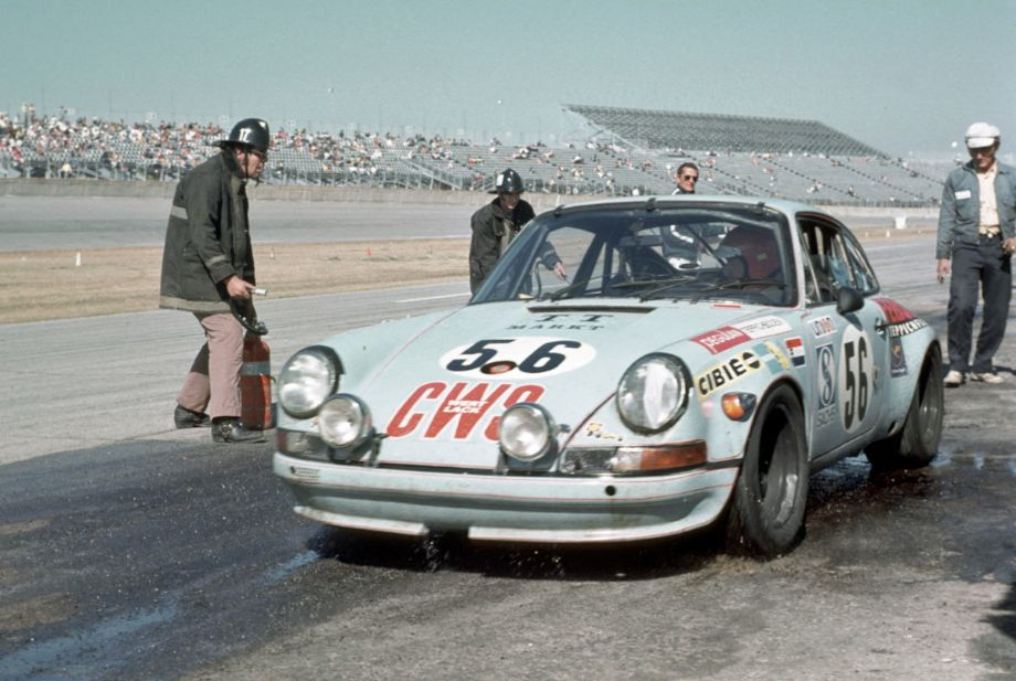 The GT class at Daytona in 1973 saw a slew of Corvettes, Camaros and Porsche 911's.  This 911S was entered by Joest Racing and driven by Sepp Greger, Kurt Hild and Dieter Schmid and finished in ninth place.  Louis Galanos photo.