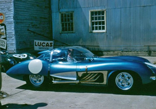 John Fitch in the Corvette SS during tech inspection at 1957 Sebring 12 Hours