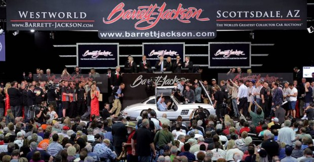 Sir Stirling Moss in a Mercedes-Benz 300 SL Gullwing at Barrett-Jackson Scottsdale 2014