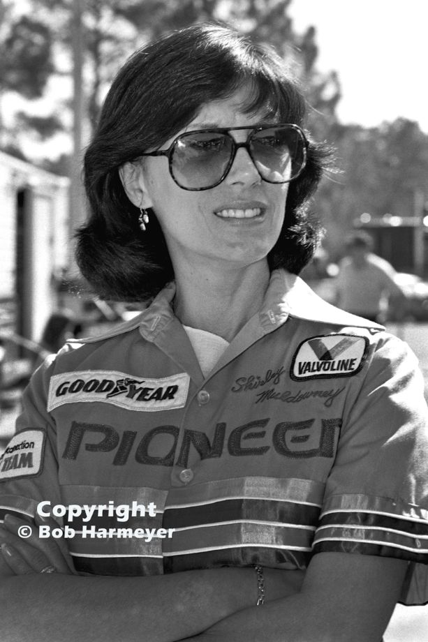 Shirley Muldowney, photographed in the pit area at the 1984 NHRA Gatornationals near Gainesville, Florida, was the NHRA's first three-time Top Fuel champion.