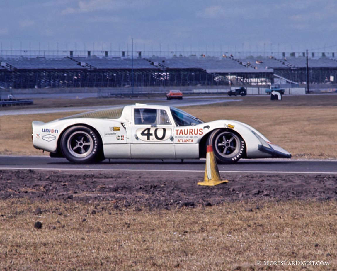Porsche 906LE of Gregg Loomis and Bert Everett does a 180 in turn three. The car finished 9th overall. (Fred Lewis photo)