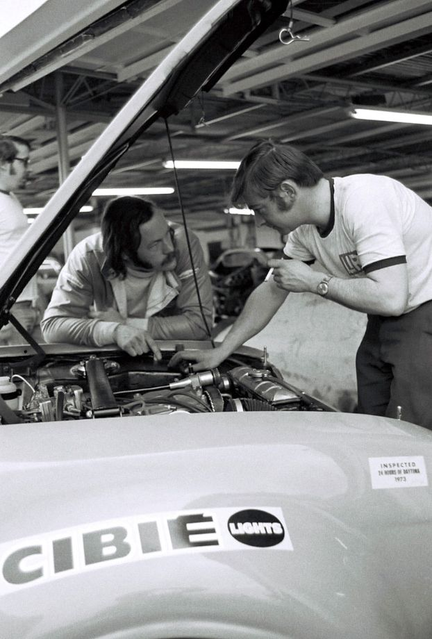 John Buffum, talking to a mechanic, had two Ford Escort RS 1600's entered at Daytona in 1973.  Both failed to finish with one not making even one lap and the car he drove retired after nine laps.  Louis Galanos photo.