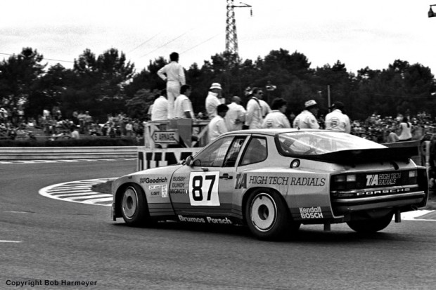 The Porsche 924 Carrera GTR of Jim Busby, Doc Bundy and Marcel Mignot turns into the Mulsanne Corner en route to a first place finish in the IMSA GTO class.