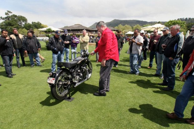 Further into my stop at the Harris Vincent Camp, Herb is about to demo what his Black Shadow with tuned straight pipes sounds like when the throttle is turned.  How sweet, and deafening, it will be!