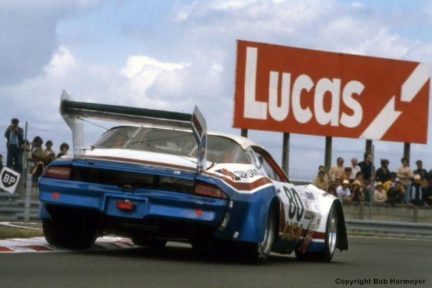 Not your typical Le Mans entry -- with its massive wing, pronounced body roll and deep rumble of a Chevy V8, the Camaro of Tom Williams, Dick Brooks and Hershel McGriff navigates the Ford Chicane.