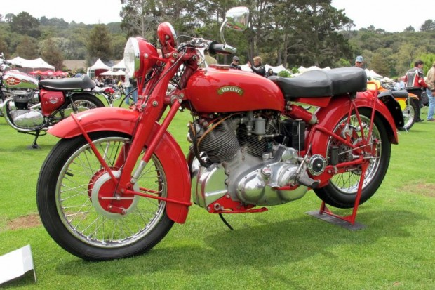 No sidecar on this red 1951 Rapide Touring Vincent, Michael Begley's dramatic HRD will stand on its own two wheels in any show and out on the road.