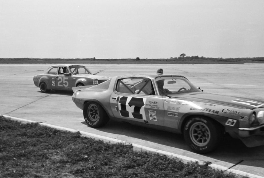 Buffum-Everett Ford Escort gives way to the Chevy Camaro of Vince Gimondo and Billy Dingman