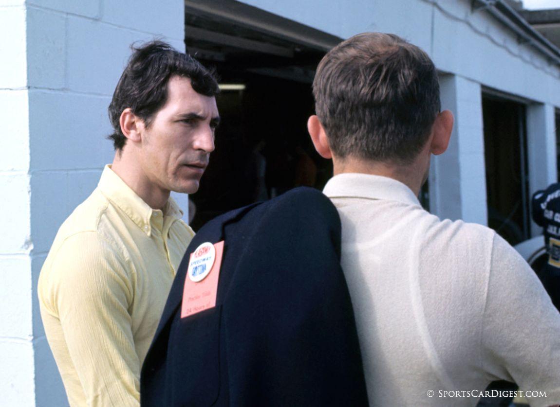 Vic Elford talks to Ferdinand Karl Piëch. Piëch is the grandson of Ferdinand Porsche and managed the other Porsche factory 917K team at Daytona. (Fred Lewis photo)