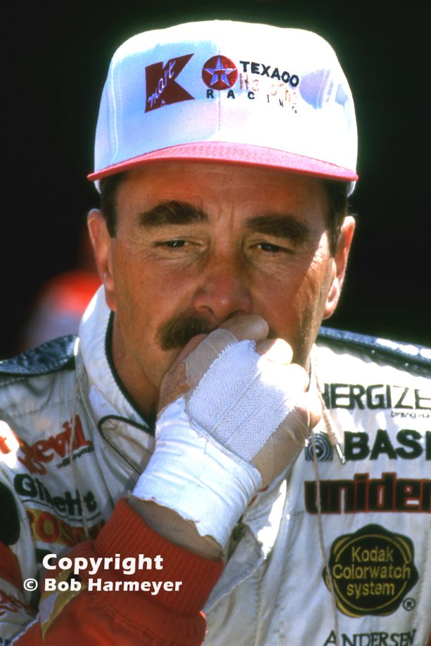 Nigel Mansell, photographed in the pit lane before the 1993 Marlboro 500 CART race at Michigan International Speedway, perhaps the most significant victory of his IndyCar career.