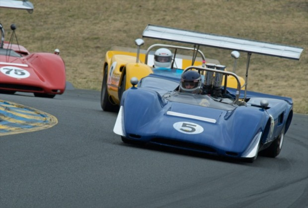 1969 Lola T163 Jim Gallucci, 1968 McLaren M6B Bob Lee and 1969 Lola T163 Brian Blane
