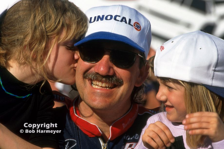Dale Jarrett celebrates in victory lane with his daughters Natalee and Karsyn after winning the 1996 Daytona 500, his second victory in NASCAR's most prestigious race.