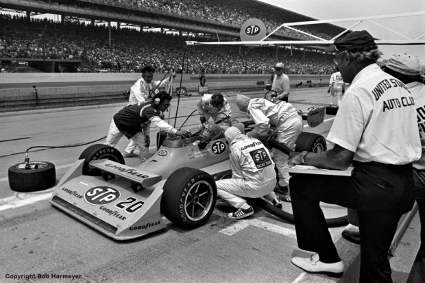 Gordon Johncock stops for fuel and tires in the late stages of the race.