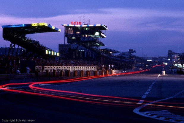 An early-evening view of the front straight at Le Mans.