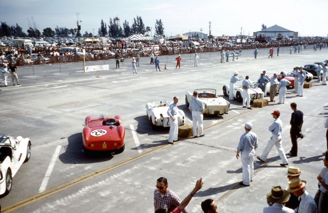 The cars are all in position and drivers opposite awaiting the Le Mans style start.  BARC boys photo.