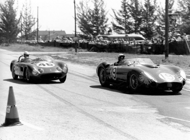 Jean Behra in the Maserati 450S leads the Maserati 150S of Lloyd Ruby and Bobby Burns