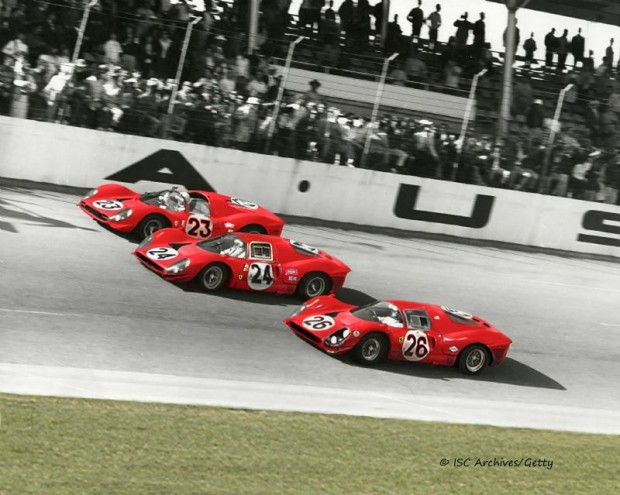 The winning Ferrari team crosses the finish line at Daytona in 1967