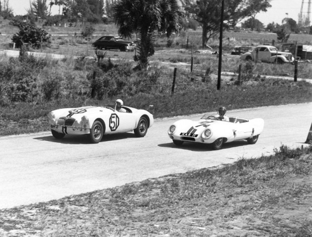 MG A of David Ash and Gus Ehrman races the Lotus Eleven Le Mans of Doc and Margaret Wyllie.