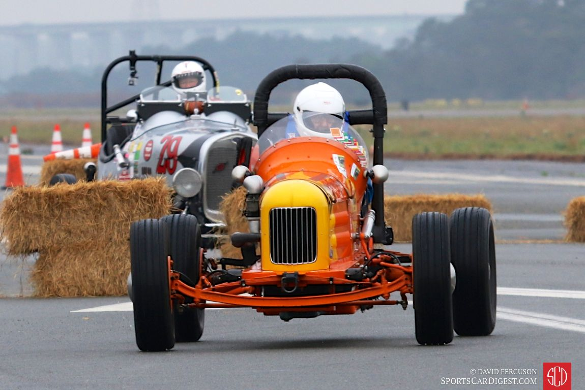 Sam Blanton threads his 1936 Winfield-Ford Special through the hay bales