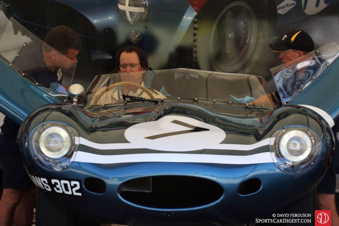 Chris MacAllister getting fitted to his 1955 Jaguar D-Type.