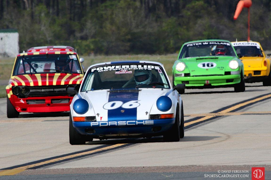Skott Burkland's 1969 Porsche 911 leads the pack
