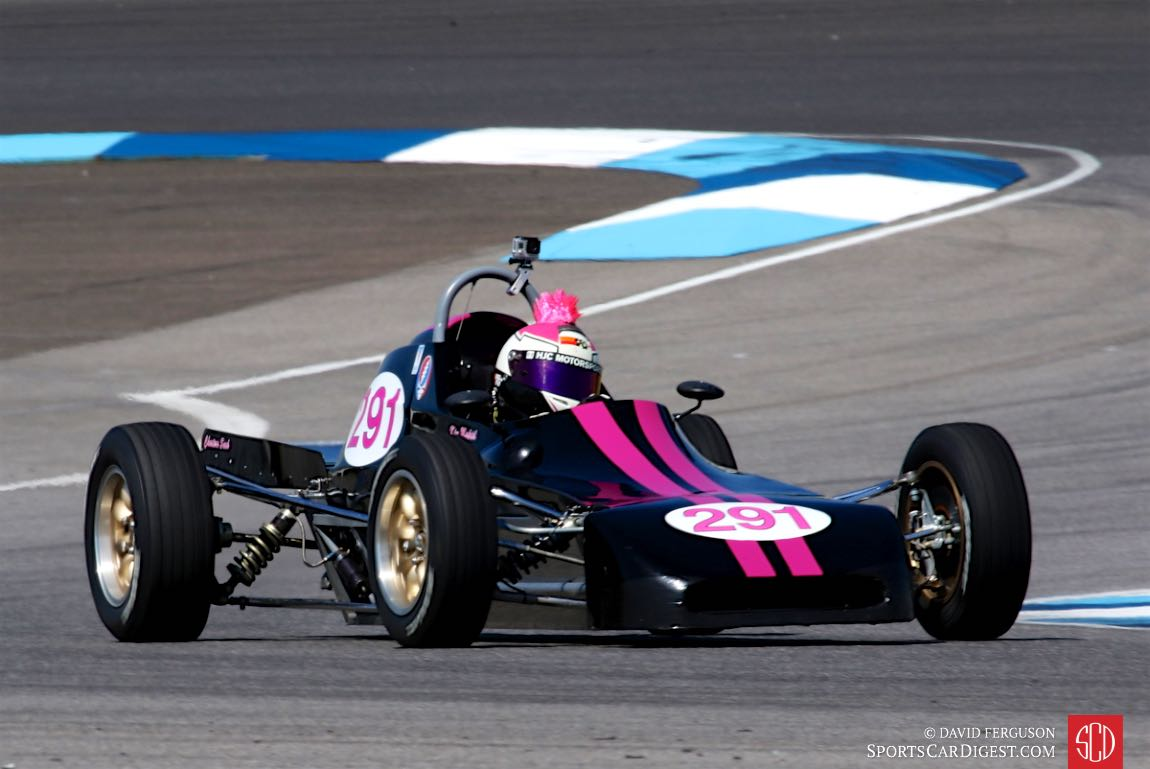 Kim Madrid with her distinctive helmet going through turn 2 in a 78 Crossle Formula Ford.