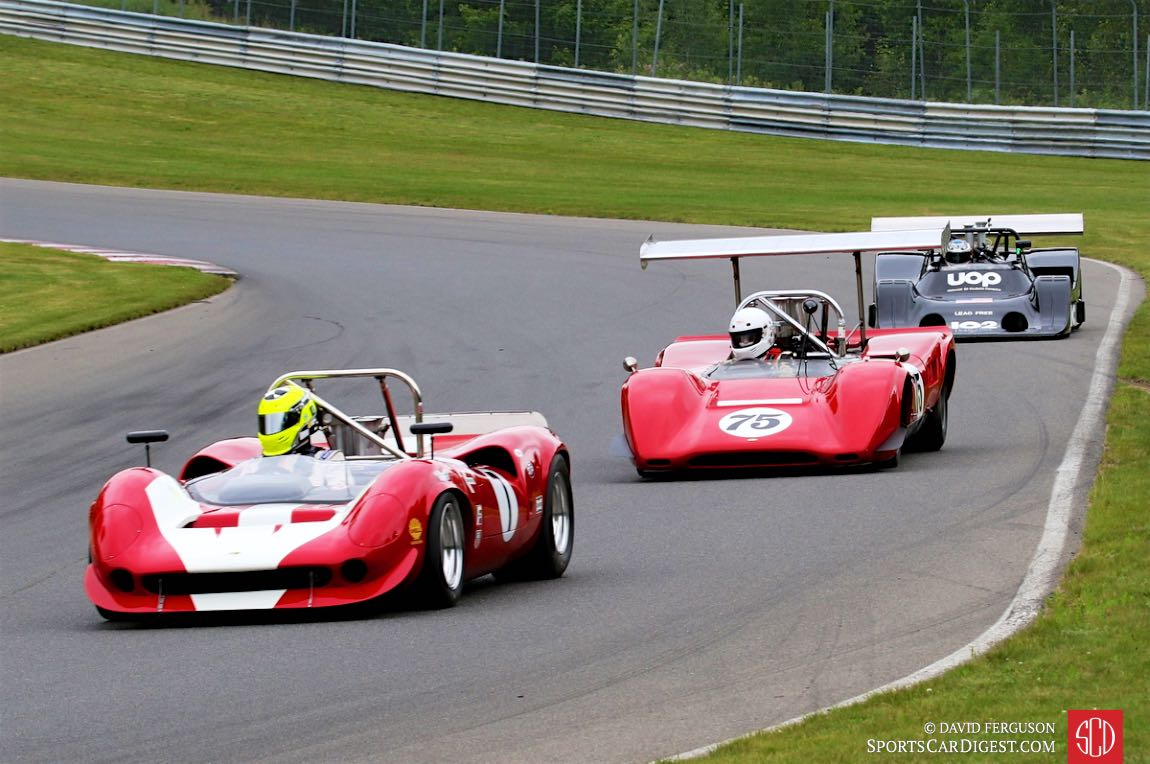 Robert Blain, 67 Lola T70, Brian Blain 69 Lola T163 and Dave Handy, 74 Shadow DN4 present a chronological view of the Can-Am.