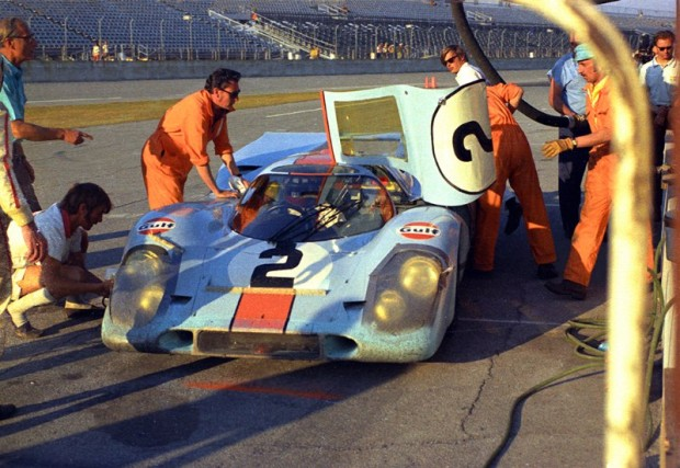 Gulf Porsche 917K in pit box at Daytona 24 Hours