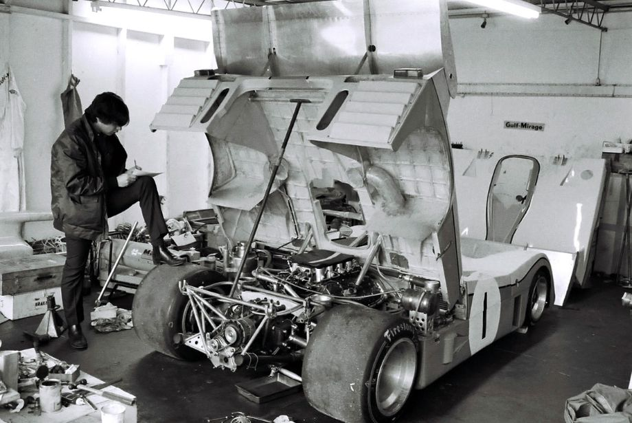 The JW Automotive Gulf Mirage team arrived at Daytona in late January for testing.  Rather than return to Slough, England they stayed at the Speedway in garages reserved for them where they readied the cars for the 1973 Daytona 24.  According to John Horsman this was not an ideal situation.  Louis Galanos photo.