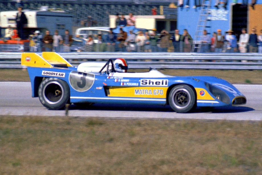 The V-12 Matra-Simca MS670 was piloted by Francois Cevert, Jean-Pierre Beltoise and Henri Pescarolo.  It led for a time after the Mirages fell behind due to mechanical problems.  A blown engine led to their retirement.  Louis Galanos photo.