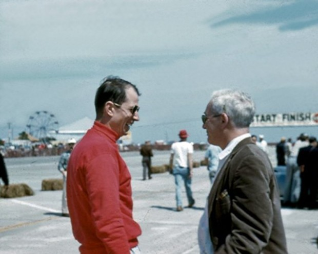 Corvette SS driver John Fitch (on left) talks to Chicago driver and Team Arnolt Captain, Bob Goldich